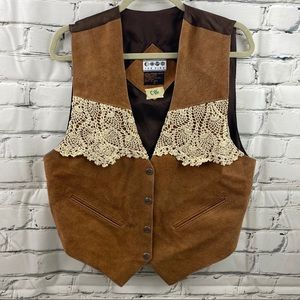Vintage ICE FIRE genuine leather vest with lace